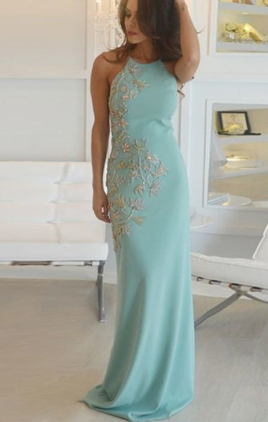 Sheath Round Neck Sweep Train Green Stretch Satin Prom Dress With Beading 1137