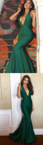 Sexy Deep V Neck Hunter Green Mermaid Long Prom Dress Evening Dress 1143