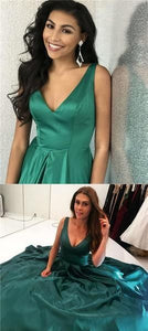 Charming V-Neck Green V-Back Long A-Line Satin Prom Dresses 1150