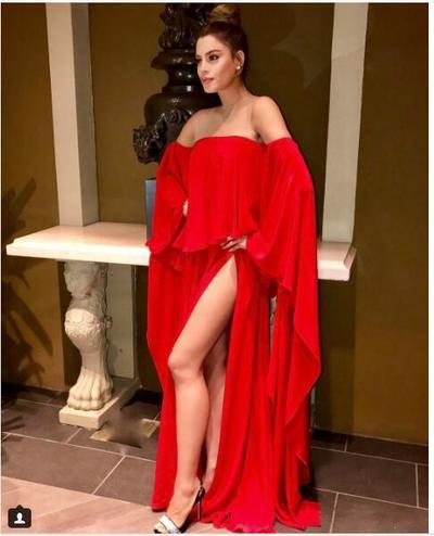 Sexy Red Prom Dress Evening Dress Long Sleeves Chiffon High Split Prom Dresses Evening Dresses 1153