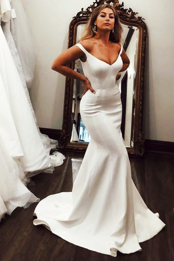 V-Neck Off the Shoulder Mermaid Long Ivory Wedding Dress 1154