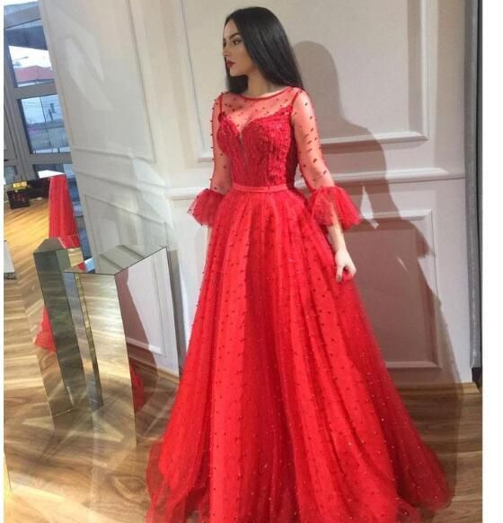 Chic Red Beaded Prom Dresses Long Sleeves Sheer Bateau Neck Evening Gowns Floor Length 1169