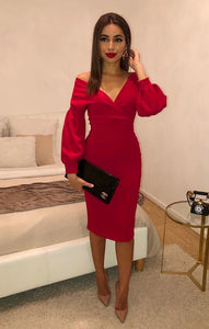 Red Belted Bodycon Midi Dress 1176