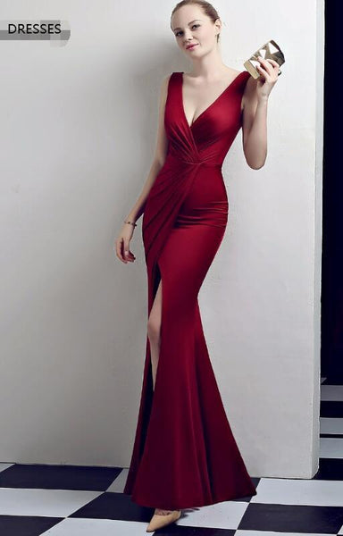 Dress shoulders temperament sexy burgundy long simple new prom dress 1181