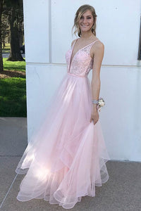Deep V Neck Pink Floor Length Prom Formal Dress 1183