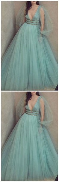 Green v neck tulle long prom dress, green evening dress 1187