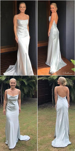 silk satin formal evening dress, spaghetti straps evening dress, long evening dress 1189