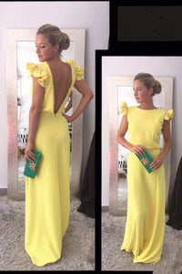Backless Prom Dress,Yellow Prom Dresses 1190