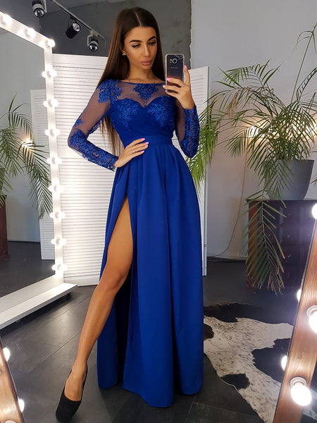 Long Sleeves Prom Dresses Slit Chiffon A-line Floor Length Evening Gowns Appliques Lace Party Formal Dresses 1191