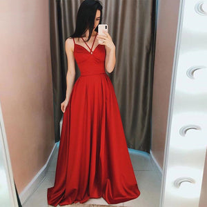Spaghetti Straps Prom Dresses Sleeveless Elegant Long A-line Formal Celebrity Party Gowns Robe Gala Satin Evening Dress 1192