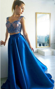 Blue Satin Prom Dress,Two Piece Prom Dress,Long Sleeveless 1202