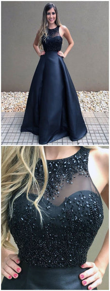 Hot Sale Beautiful Prom Dresses Ball Gown Prom Dresses Black Long Evening Dress 1223