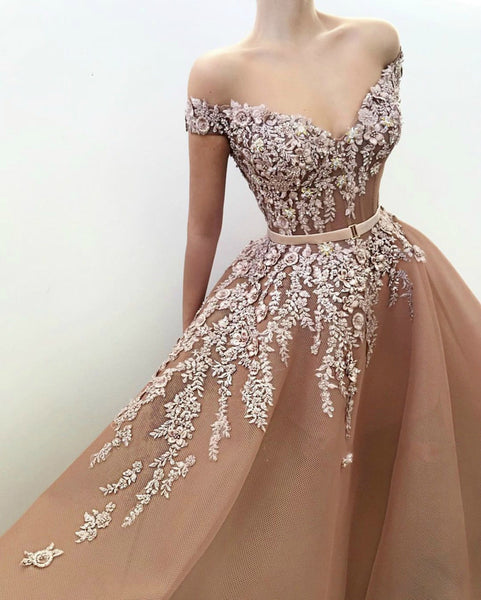 Stunning Off-the-Shoulder Sexy Evening Dress Organza Prom Dress Lace Formal Gown 1226