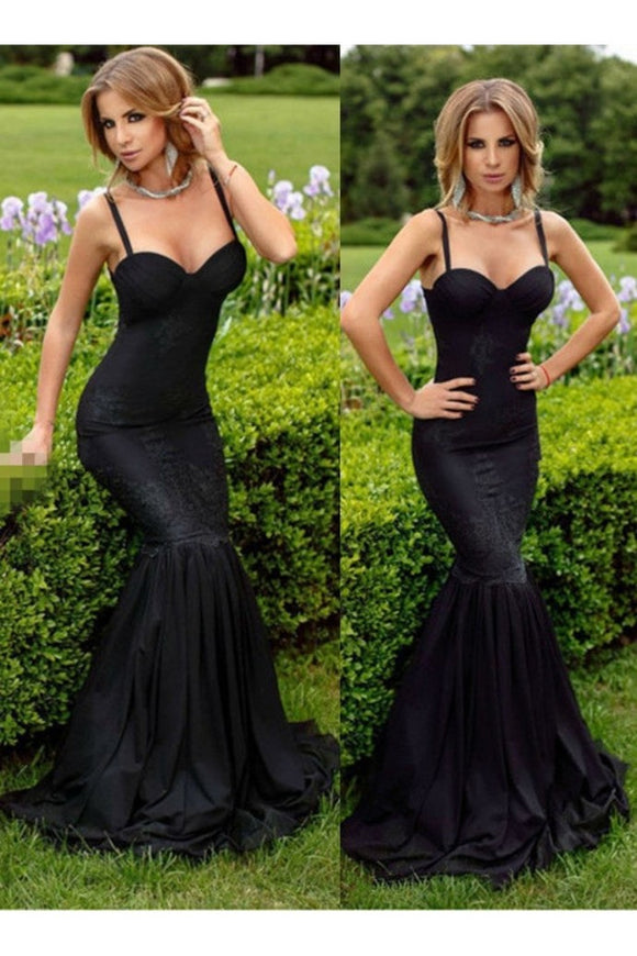 2020 Black Prom Dresses Mermaid Lace Sweetheart Sexy Evening Dress tulle Formal Gowns 1228