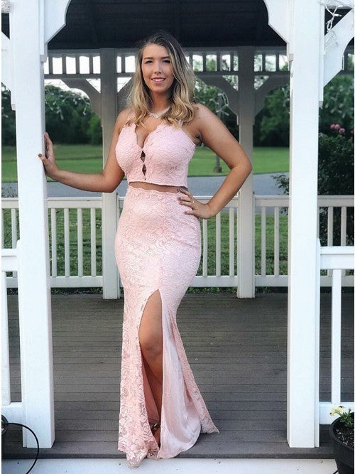Mermaid Two-Pieces V-neck Sleeveless Split Lace Prom Dress 1231