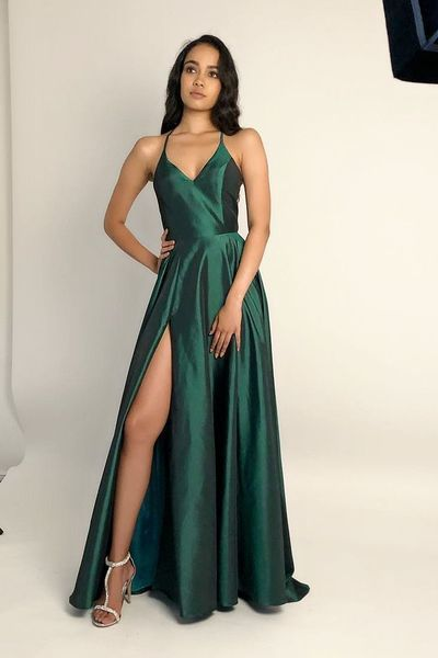Green Long Prom Dress with Slit,Sleeveless Full Length With Party Dress,Spaghetti Straps Floor Length Evening Dress 1236