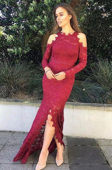 Elegant Mermaid Split Front Long Sleeves Burgundy Lace Prom Dress 1237