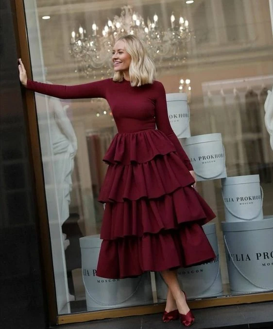 Burgundy Long Sleeves Prom Dress with Layered Skirt 1239