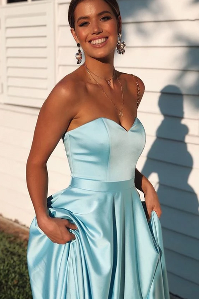 Elegant Sweetheart Lace-Up Back A-Line Ice Blue Prom/Formal Dress 1243