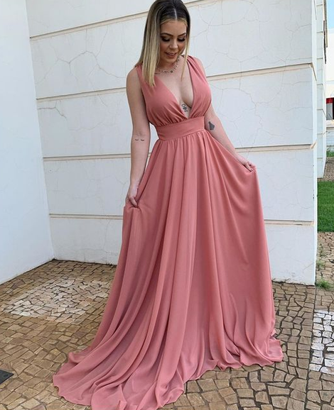 Simple Plunging Neck Chiffon Evening prom Dress 1246