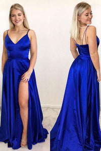 sexy royal blue prom dresses, a line prom gowns, slit prom dresses 1260