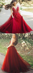 A-Line Spaghetti Straps Dark Red Long Prom Dress with Appliques 1261