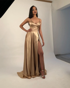 2020 Champagne Gold Silk Satin Prom Dresses with Sexy Split 1270