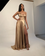 2021 Champagne Gold Silk Satin Prom Dresses with Sexy Split 1270