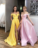 Yellow Off the Shoulder Split Prom Dresses Satin with Sash 1272