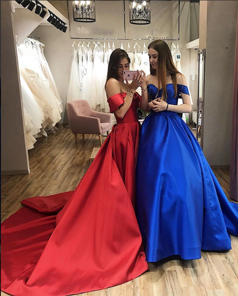 Royal Blue Off the Shoulder Ball Gowns Prom Dresses 2020 1273