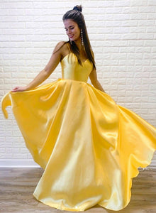 Bright Yellow Satin Dress Spaghetti Straps Long Dress, Bridesmaid Dress 1276