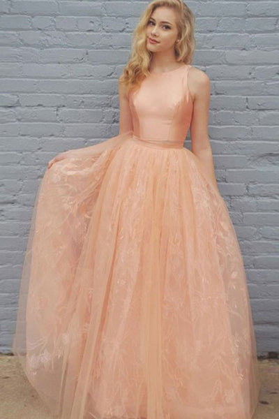 Two Piece Peach Tulle Lace Full Length Pageant Prom Dress, Homecoming Dress 1284