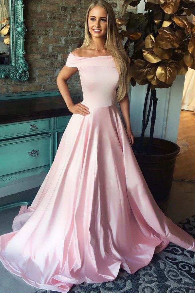 Pink Satin A Line Simple Long Prom Dress For Teens 1286