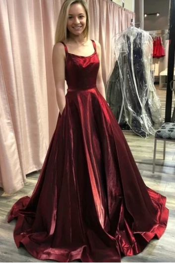 A-line Burgundy Prom Dress with Pockets, Straps Long Formal Gown 1296