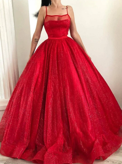 Spaghetti-straps Square Sparkly Red Tulle Ball Gown Long Prom Dresses 1303