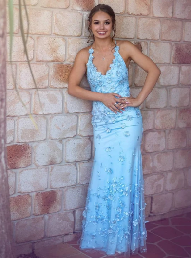 Mermaid Sky Blue Long Prom Dresses V-neck Backless Evening Gowns 1307