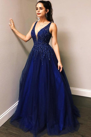 V NECK ROYAL BLUE PROM DRESSES TULLE WITH BEADED 1308