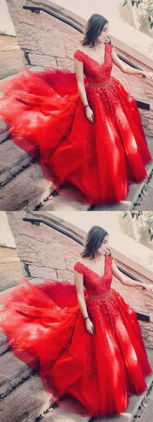 Stylish red v neck tulle lace long prom dress, evening dress 1311