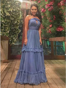 A-Line Halter Floor-Length Tiered Blue Tulle Prom Dress 1319