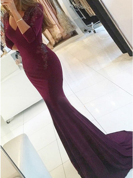 Mermaid V-Neck Burgundy Prom Dress with Beading Appliques 1322