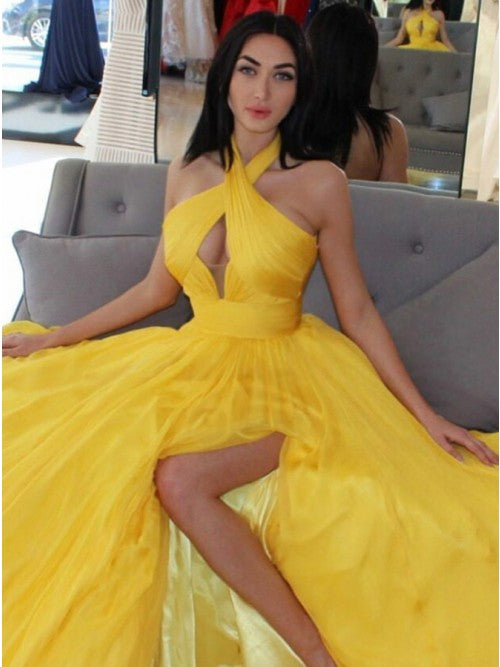 A-Line Halter Yellow Stretch Satin Prom Dress with Keyhole 1330