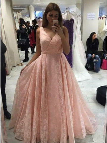Stunning V-neck Sleeveless Pink Lace Prom Dress Ruched 1334