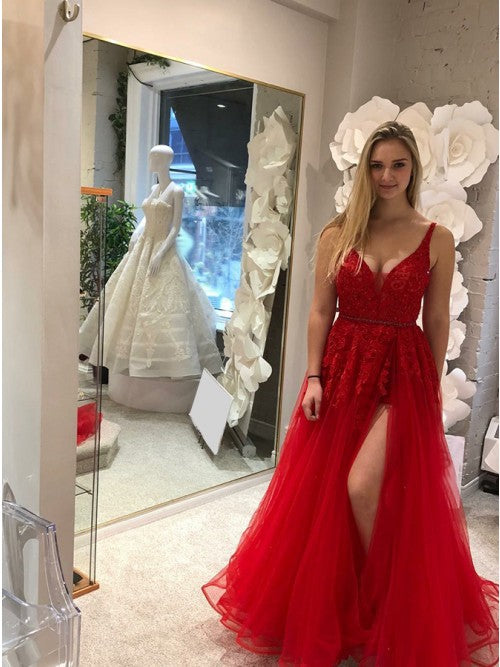 Modest V-neck Sleeveless Red Split Prom Dress with Appliques 1340
