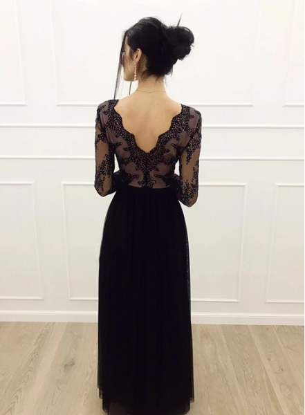 Black v neck tulle long sleeve prom dress 1349