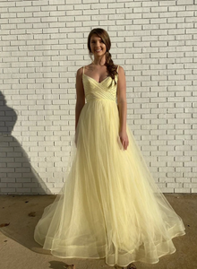 Yellow v neck tulle long prom dress 1351