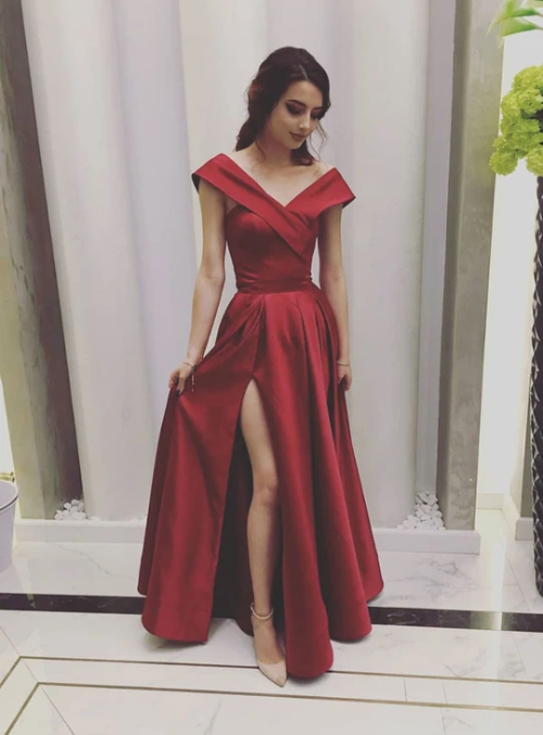 Burgundy v neck satin long prom dress, evening dress 1353