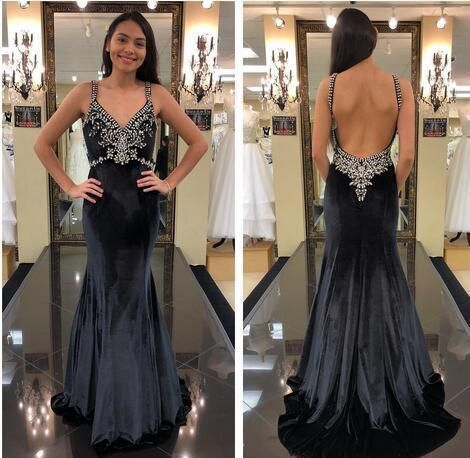 Velvet Prom Dresses Straps V Neck with Lace Appliqued Beaded Sexy Backless Mermaid Formal Party Evening Gowns 1360