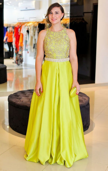 Yellow Prom Dresses With Lace,Sexy Evening Gowns,A Line Formal Dresses 1365