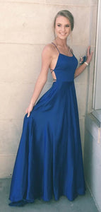 2020 straps navy blue long prom dress, simple long prom dress, party dress 1393