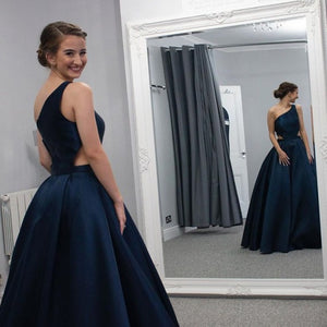 A Line Sleeves Cut Out Floor Length Dark Blue Prom Dress 1400